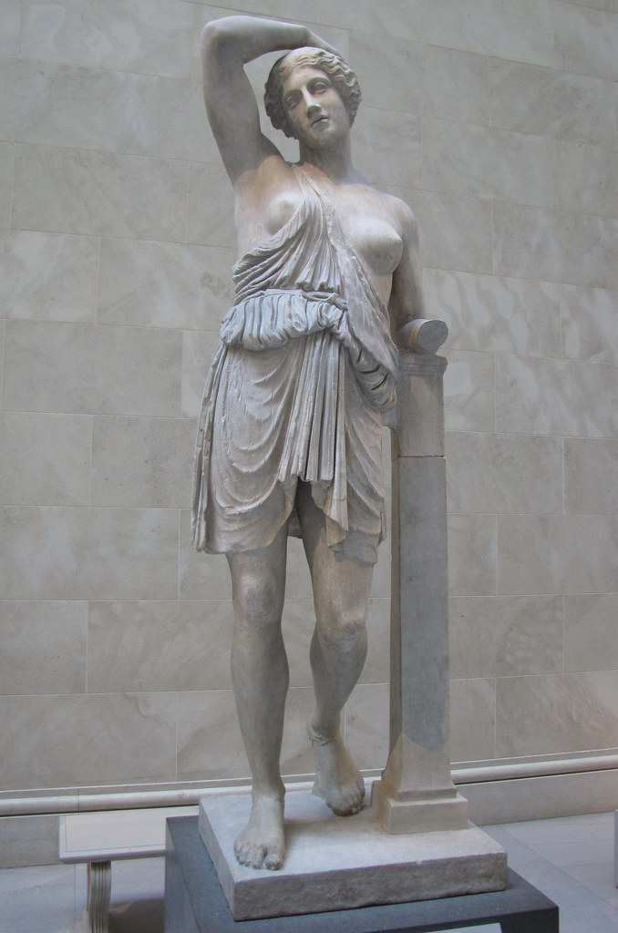 Marble statue of a wounded amazon