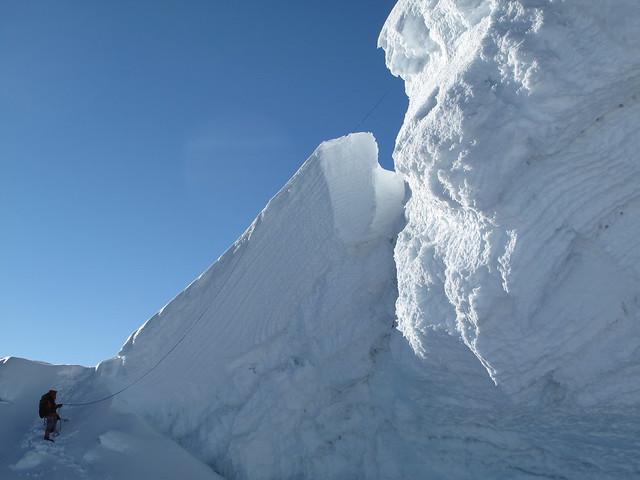 Le premier rappel pour descendre du sommet du Tocclaraju