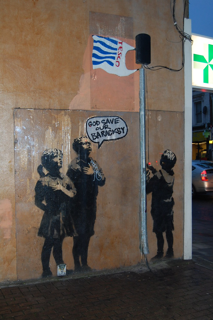 Banksy - Very Little Helps | Defaced with some cardboard sho