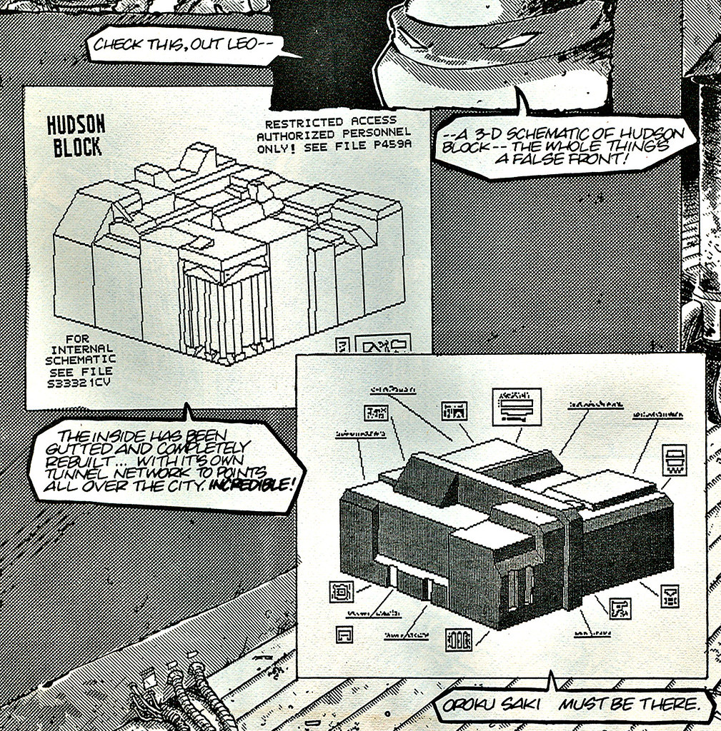 """Blast from the Past #143: Weird meeting doodle // And Peter's geeky trick question iv (( 1989 )) [[ Answer :: Teenage Mutant Ninja Turtles v.1  #20 ..pg.9 -  ' 3-d ' schematic of Hudson Block.. The False front for """"FOOT CLAN's HEADQUARTERS"""" // CLOSE - UP by tOkKa"""