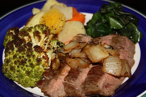 Flank Steak with Carmelized Onions, Broccoflower, Beet Greens, and Boiled Root Vegetables | by chefelf