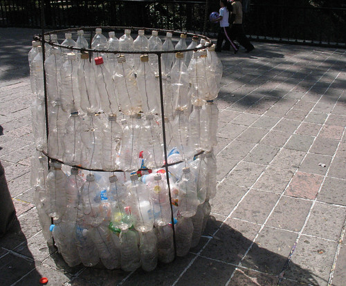 Bin made of plastic bottles in Chapultepec Park, Mexico City | by ouno design