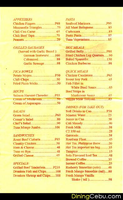 Pizza Restaurant in Cebu Philippines - Handuraw Pizza Menu