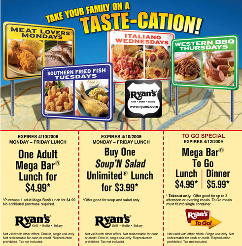 picture about Ryans Printable Coupons identify LUNCH) Ryans Buffet Printable Cafe Discount codes Flickr