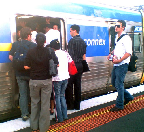 Trains packed after a disruption | by Daniel Bowen