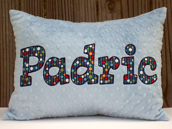 Applique Minky Chenille Pillow