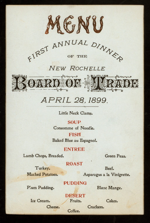 FIRST ANNUAL DINNER [held by] NEW ROCHELLE BOARD OF TRADE [a...