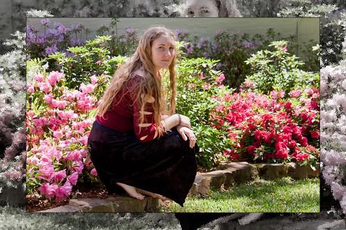 woman grass sarah photoshop outside azaleas longhair skirt blond barefoot afternoonsun easttexas pinkflowers tylertexas blondhair azaleabush blackskirt maroonsweater