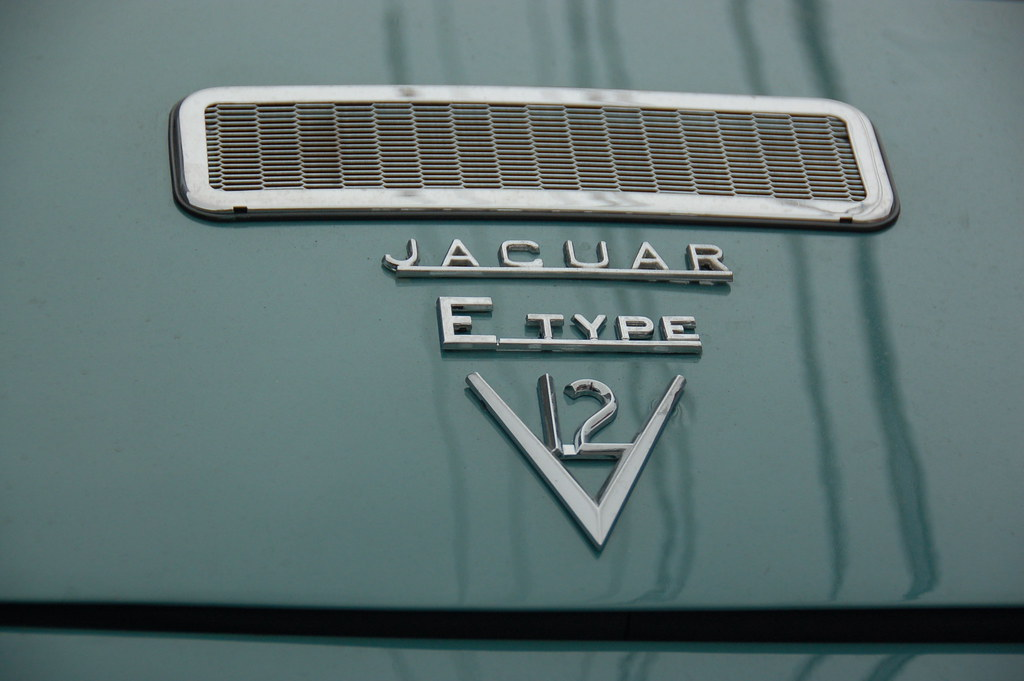 First Car In The World >> Old Jaguar E-type sports car: logo & vent on trunk lid ...