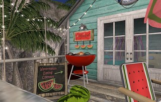 Fiesta Beach Shack: FT Watermelon Eating Sign | by Hidden Gems in Second Life (Interior Designer)