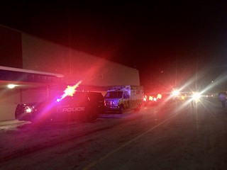 Police and Ambulances FLashing Lights at Night Meijer Alpine | by stevendepolo
