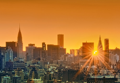 nyc newyorkcity longexposure skyline sunrise geotagged dawn cityscape nightscape sunburst chryslerbuilding hdr mudpig stevekelley