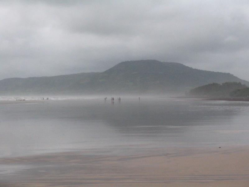 Beach wet with rain