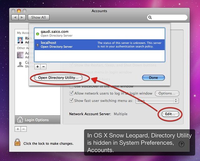 Snow Leopard Directory Utility Hidden | In Apple OS X Snow L… | Flickr