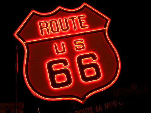 """Giant Route 66 Neon Sign 