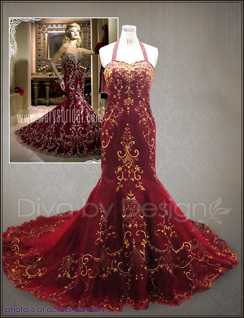 34bf16e4684 ... antique wedding dresses ivory gold bridal gowns red dress gown  MB08005-1