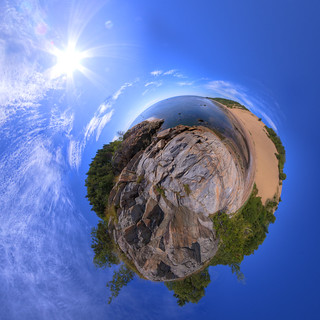 Tadoussac Sand Dunes - Stereographic Planetoid with Sun | by haban hero