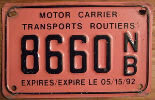 NEW BRUNSWICK, EXPIRES/EXPIRE LE 05/15/92, BILINGUAL SCREENED LEGEND ---MOTOR CARRIER-TRANSPORTS ROUTIERS plate