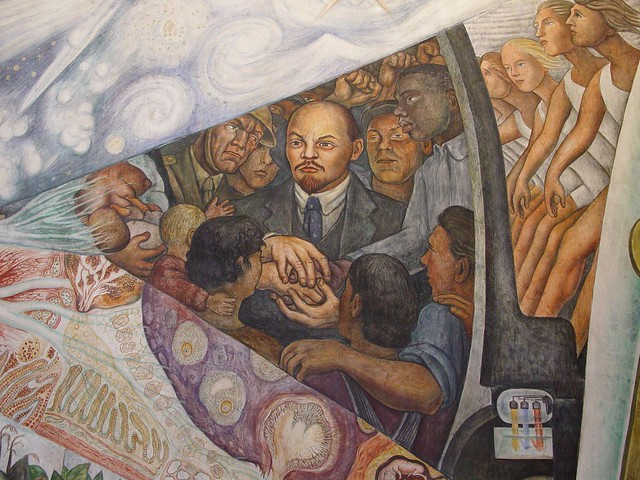 Mexico City / Bellas Artes - Detail of Diego Rivera Mural - Controversial Tribute to Lenin - Too Hot for New York