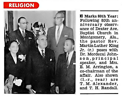 80th Anniversary of Dexter Ave Baptist Church with Rev Martin Luther King Jr  - Jet Magazine, January 2, 1958