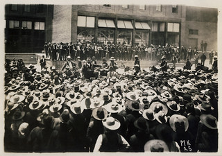Colonel William C. Greene with arm outstretched addressing a crowd of Mexican workers during miners' strike, 1906, Cananea, Mexico