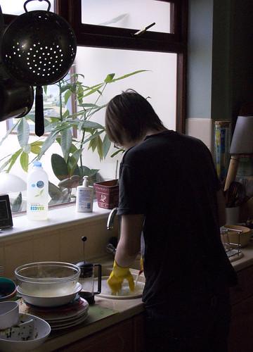Matt doing the dishes
