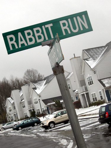 winter snow parkinglot apartments streetsign gray suburbia updike rabbitrun johnupdike