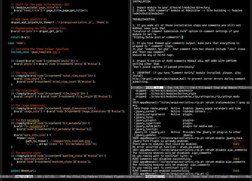 Emacs 23 with the dark-laptop theme and using Terminus fon