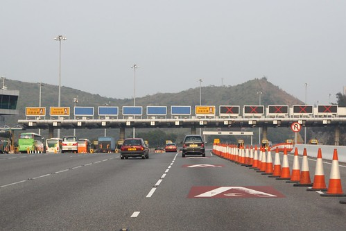 Eastbound at the Tsing Ma Bridge toll plaza