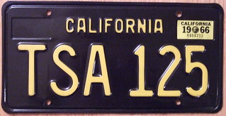CALIFORNIA 1966 LICENSE PLATE