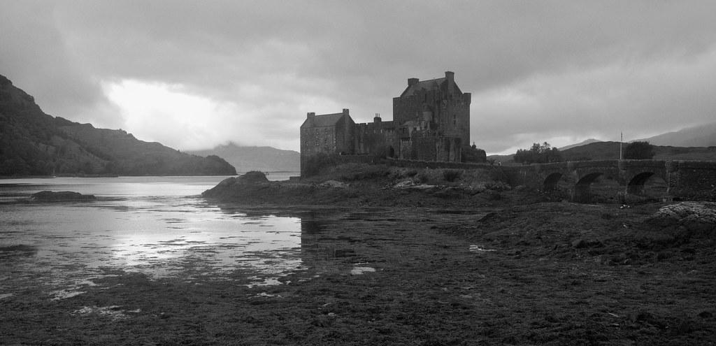 Eilean Donan Castle (black and white crop), Scotland