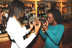 DSC_0545 Dionne from Ghana in Turquoise Dress and Jada from Trinidad in White Top And Denim Blue Jeans out on the Town Party Time at Troy Bar Shoreditch London