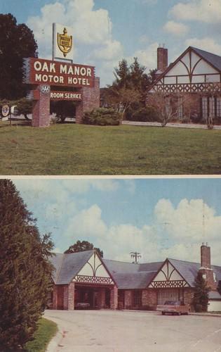 vintage louisiana postcard motel batonrouge 1970 motorhotel dualview signview entranceview oakmanor masterhosts lionssign