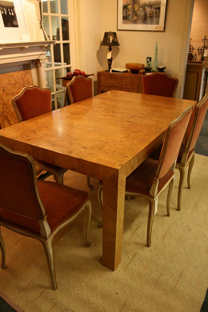 ... Olive Ash Burl Parsons Table With Antique Italian Chairs | By Sequel