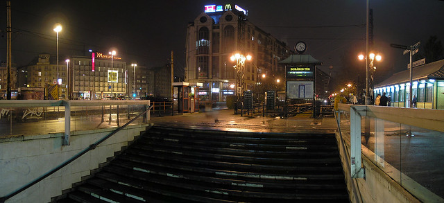 Budapest - Boraros square night panorama