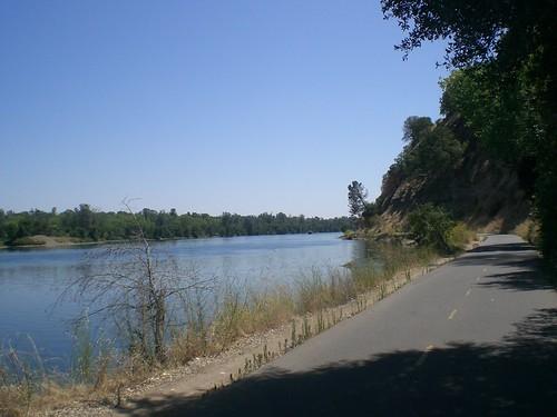 Cycling along Lake Natomas