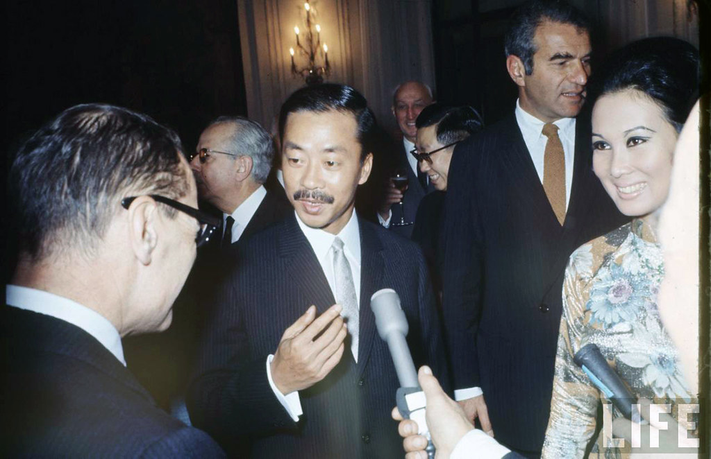 1969 Paris - South Vietnam VP Cao Ky Nguyen (2L) and wife at reception given by South Vietnam Peace Talks Delegation. 3
