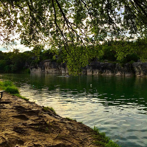 texas centraltexas austin atx iphoneography georgetowntexas summer day ioatx austintx sky cloudy clouds partlycloudy williamsoncounty trees treetops verdant leaves branches green blue bluehole park lagoon water wading swimming swimmers shoreline waterripples limestone evening dusk sunset iphone6 iphonesix