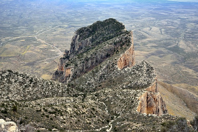 Looking Down on El Capitan from the Top of Texas at Guadalupe Peak