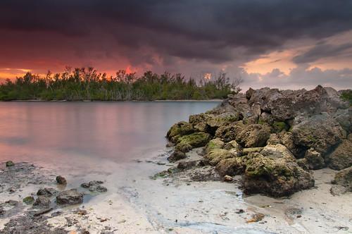 ocean sunset sea sky beach water rocks florida
