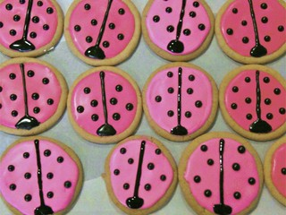 Pink Ladybug Sugar Cookies with Royal Icing