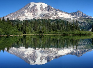 Stitched shot of Mt. Rainier and Little Tahoma reflected on Bench Lake | by Alaskan Dude