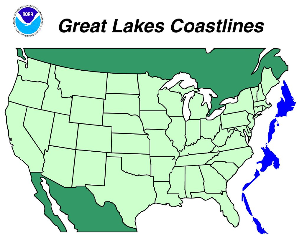 Comparison Map Of Great Lakes Shoreline With Us East Coa Flickr - Great-lakes-on-the-us-map