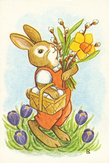Cartoon Easter Rabbit Postcard