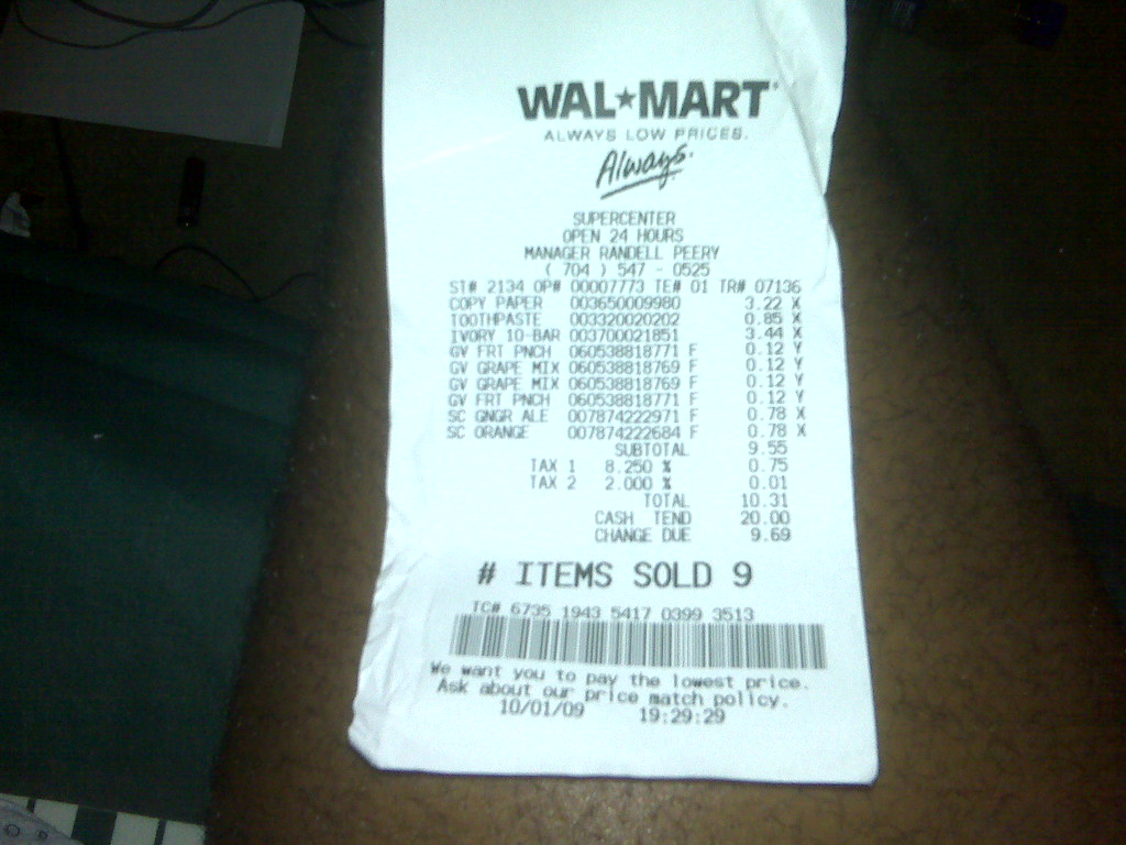 Wal-Mart Supercentre Receipt   Lamarr Blocker   Flickr
