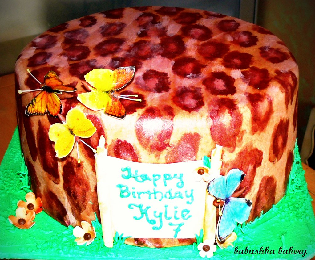 Fine Cheetah And Butterflies Birthday Cake To Order Or For Mor Flickr Personalised Birthday Cards Petedlily Jamesorg