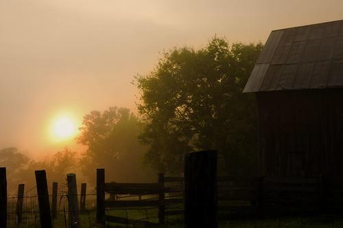 orange green barn sunrise 5 tennessee cleveland september 2009