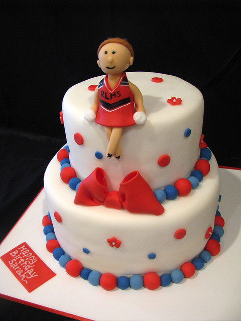 Incredible Cheerleader Birthday Cake Jasmine Clouser Flickr Funny Birthday Cards Online Fluifree Goldxyz