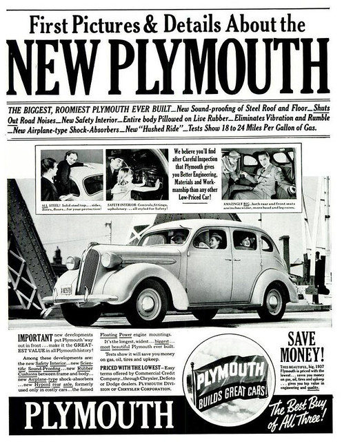 New Plymouth Automobile Advertisement From 1936