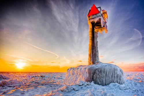 sunset sun lighthouse lake snow ice sign warning flickr michigan horizon clay hdr willard omot jonathanrobsonphotographycom viapixelpipe